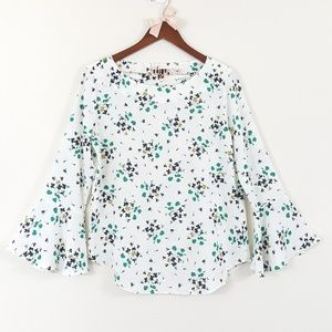 Ann Taylor Floral Bell Sleeve White Blouse S